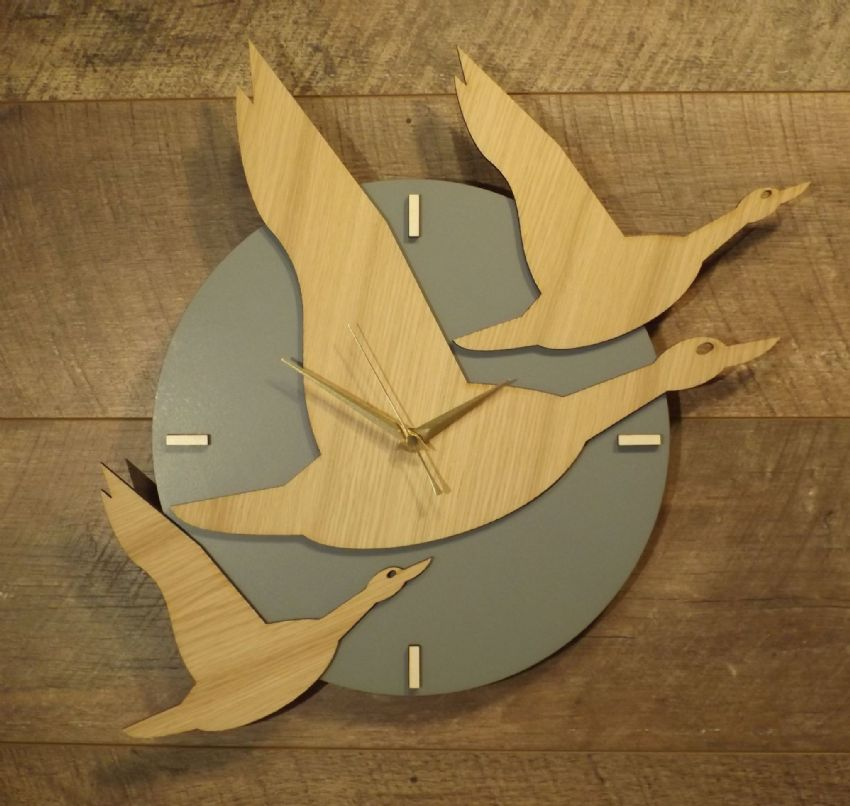 Three Birds Flying Wooden Wall Clock, Time Flies, Geese Bird Wood Clock